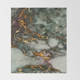Gray Green Marble Glitter Gold Metallic Foil Style Throw Blanket