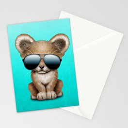 Cute Baby Lion Wearing Sunglasses Stationery Cards
