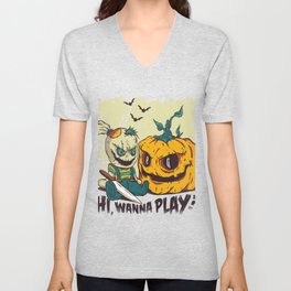 Halloween - Wanna play Unisex V-Neck