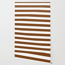 Russet - solid color - white stripes pattern Wallpaper