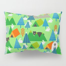 Forest with cute little bunnies and bears Pillow Sham