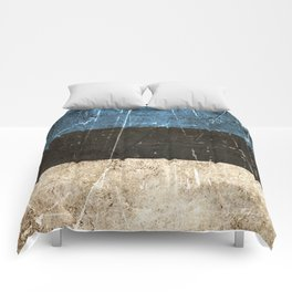 Vintage Aged and Scratched Estonian Flag Comforters