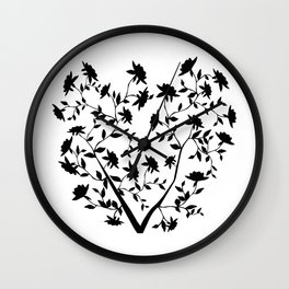 Black Rose bush Wall Clock