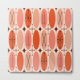 Atomic Era Ovals In Rows Orange Metal Print