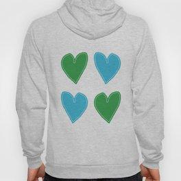 Blue and Green Hearts - 4 hearts Hoody