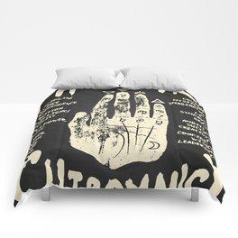 Palmistry, chiromancy. White on a blackboard background. Comforters
