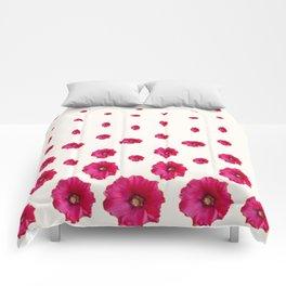 PINK-CERISE ASSORTED FLOATING HOLLYHOCK FLOWERS Comforters