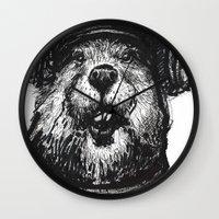 beaver Wall Clocks featuring Mr. Beaver by Mitzek