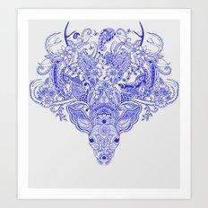 Little Blue Deer Art Print