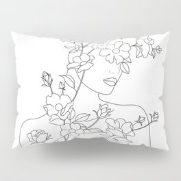Minimal Line Art Woman with Wild Roses Pillow Sham