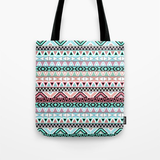 Pastel me | Andes Teal Pink Cute  Abstract Aztec Pattern Tote Bag