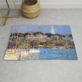 Newport Harbor, Newport, Rhode Island - Cat Boats by Frederick Childe Hassam Rug