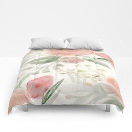 Blush Roses Watercolor Comforters