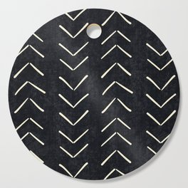 Mudcloth Big Arrows in Black and White Cutting Board