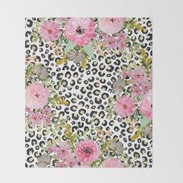 Elegant leopard print and floral design Throw Blanket