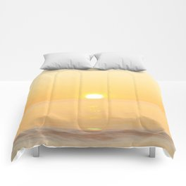 Peachy sunrise seascape Comforters
