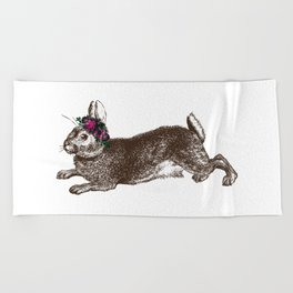 The Rabbit and Roses Beach Towel