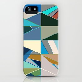 Mid-Century Modern Abstract, Turquoise and Neutrals iPhone Case
