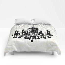 Chandelier Silhouette Metallic Damask Backdrop Comforters