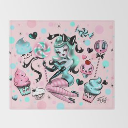 Mint Sugar Pinup Doll Throw Blanket