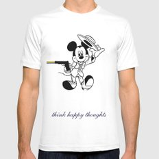 Think Happy Thoughts White Mens Fitted Tee MEDIUM