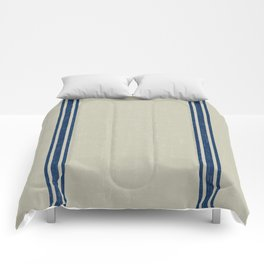 Blue Stripes on Linen color background French Grainsack Distressed Country Farmhouse Comforters