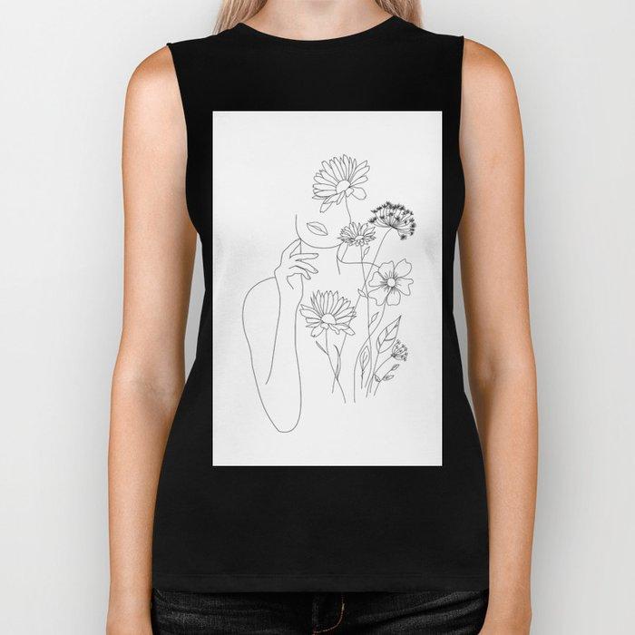 Minimal Line Art Woman with Flowers III Biker Tank