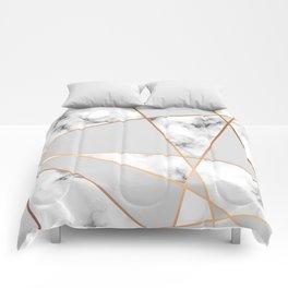 Copper smokey marble geo Comforters