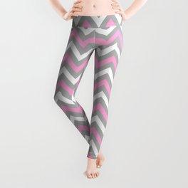 Pink and Grey Chevron Leggings