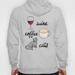 Wine Coffee Cats Hoody