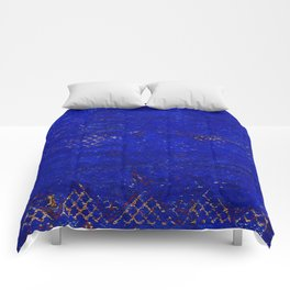 V11 Calm Blue Printed of Original Traditional Moroccan Carpet Comforters