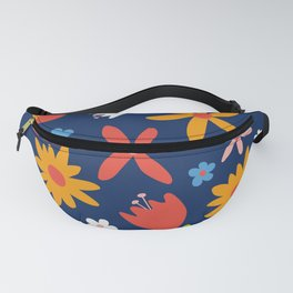 Simply  Flowers Floral Pattern on Blue Fanny Pack