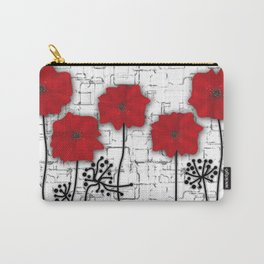 Applique. Poppies on a bright white background . Carry-All Pouch