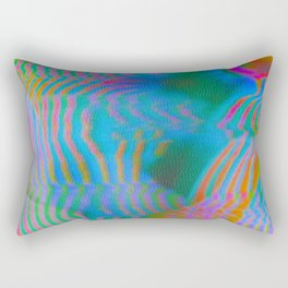 Analogue Glitch Electric Gradient Waves Rectangular Pillow