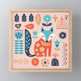 Soft And Sweet Scandinavian Fox Folk Art Framed Mini Art Print