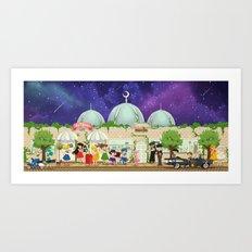 Silver Millennium Retro Cafe Art Print