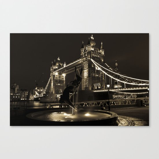 Girl and Dolphin and Tower Bridge Canvas Print