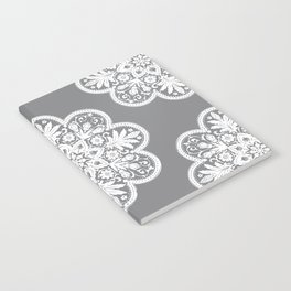 Floral Doily Pattern | Grey and White Notebook
