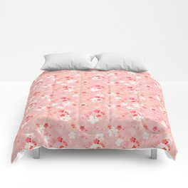 Peach pink Chinese cherry blossom Comforters