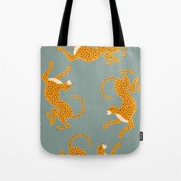 Leopard Race - blue Tote Bag