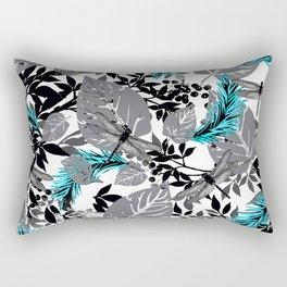PALM LEAF DRAGONFLY BLUE FERN TOILE Rectangular Pillow