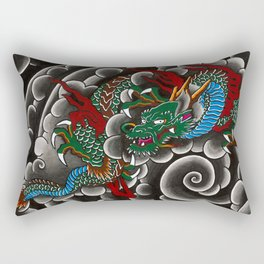 Japanese tattoo style dragon in sumi ink wash and watercolor Rectangular Pillow