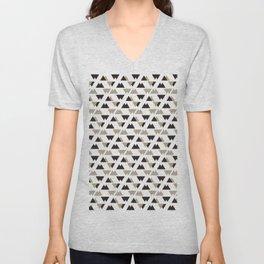 Black Gray Triangle Pattern. Geometric Pattern. Art Deco Unisex V-Neck