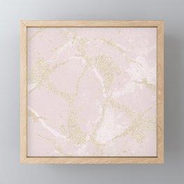Elegant modern blush pink gold pastel marble Framed Mini Art Print