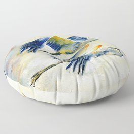 Flying Together - Great Blue Heron Floor Pillow