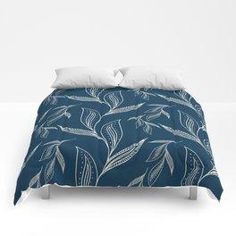 Indigo Foliage #society6 #pattern #indigo Comforters