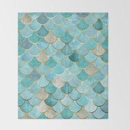 Moroccan Mermaid Fish Scale Pattern, Aqua,Teal Throw Blanket
