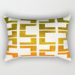 Geometric Pattern L Shaped Watercolor Painting Olive Green Yellow Ochre Colorful Pattern Art Rectangular Pillow