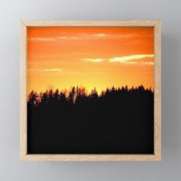 Black Forest Silhouette In Orange Sunset #decor #society6 Framed Mini Art Print