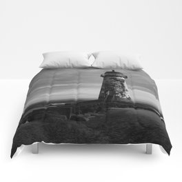 Talacre Lighthouse Black And White Comforters